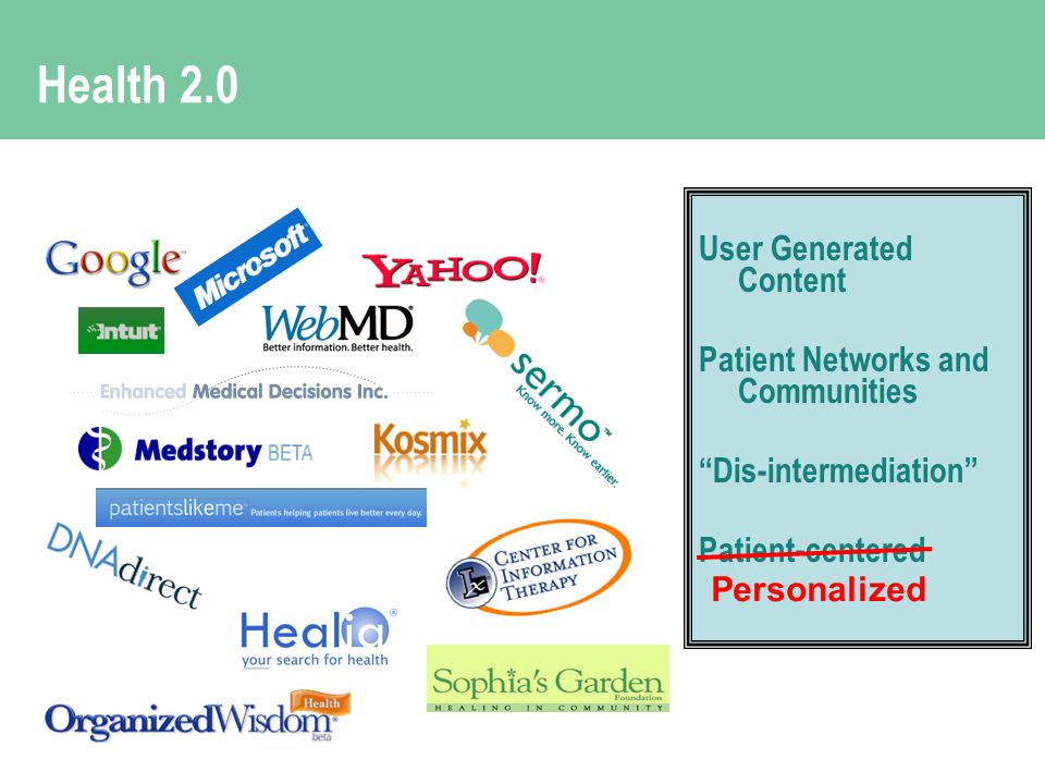 Health 2.0 User Generated Content Patient Networks and Communities Dis-intermediation Patient-centered Personalized