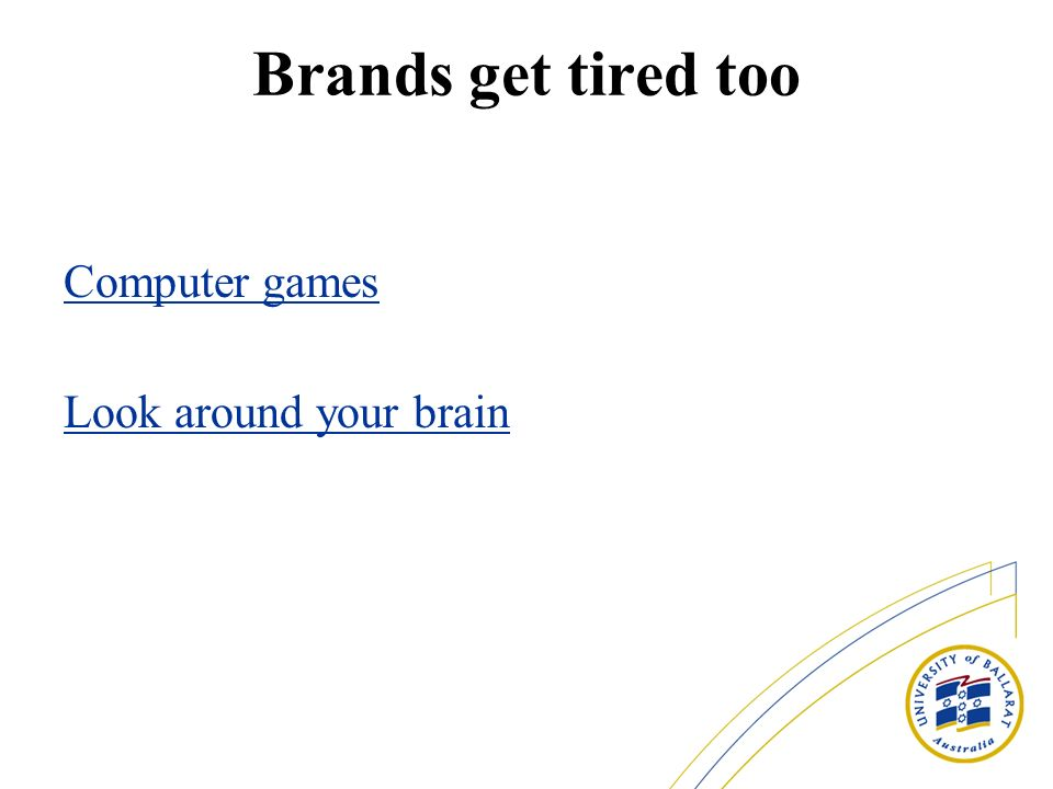 Brands get tired too Computer games Look around your brain