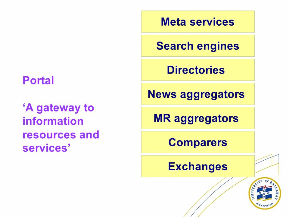 Search engines Directories News aggregators MR aggregators Comparers Exchanges Meta services Portal A gateway to information resources and services