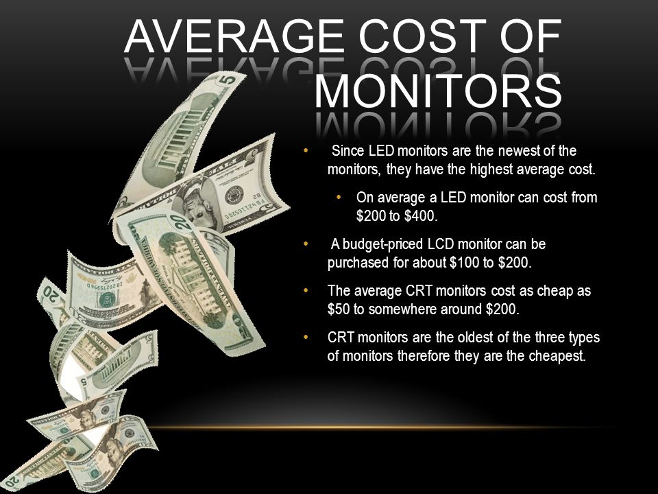 Since LED monitors are the newest of the monitors, they have the highest average cost.