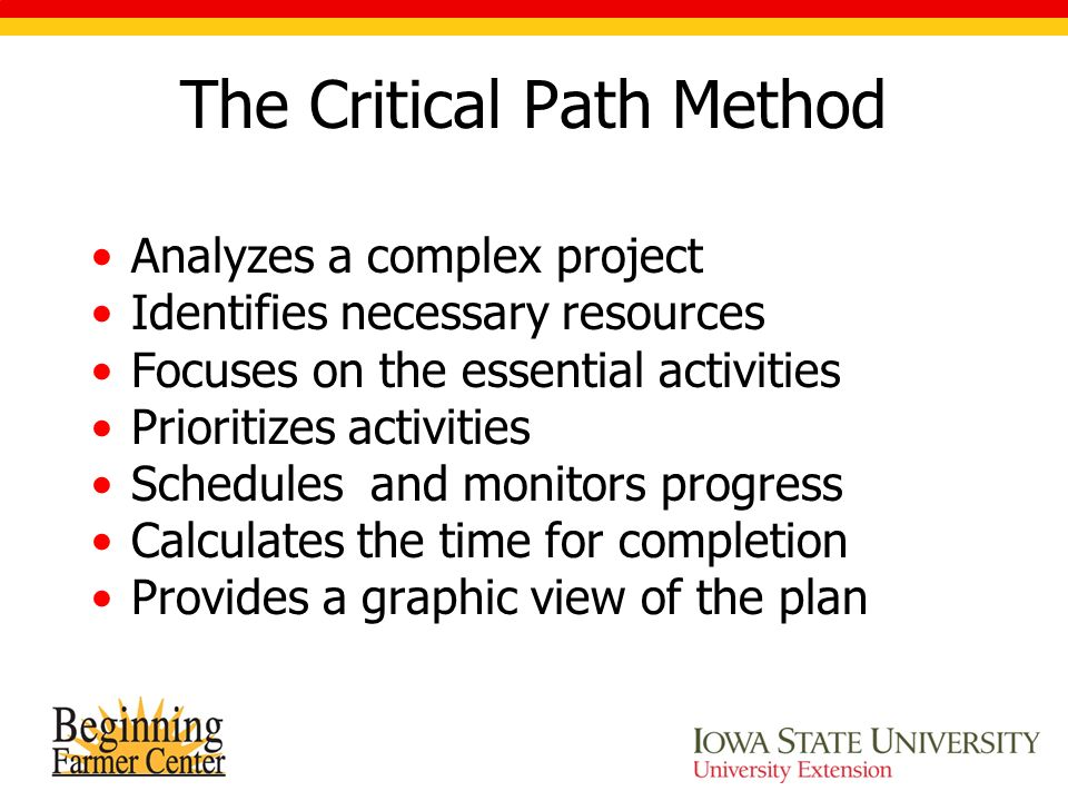 The Critical Path Method Analyzes a complex project Identifies necessary resources Focuses on the essential activities Prioritizes activities Schedules and monitors progress Calculates the time for completion Provides a graphic view of the plan
