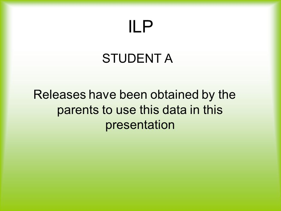 ILP STUDENT A Releases have been obtained by the parents to use this data in this presentation