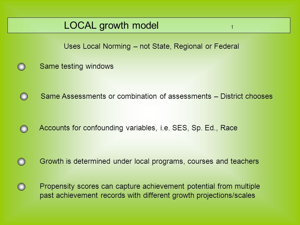 LOCAL growth model 1 Accounts for confounding variables, i.e.
