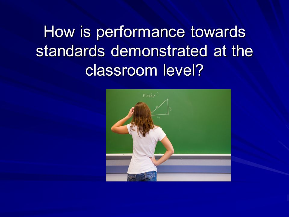 How is performance towards standards demonstrated at the classroom level