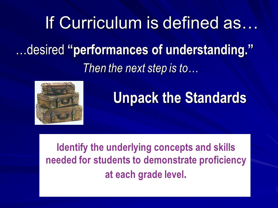 If Curriculum is defined as… …desired performances of understanding.