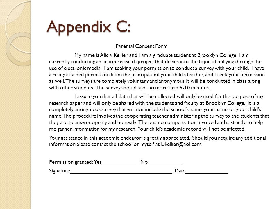 Appendix C: Parental Consent Form My name is Alicia Kellier and I am a graduate student at Brooklyn College.