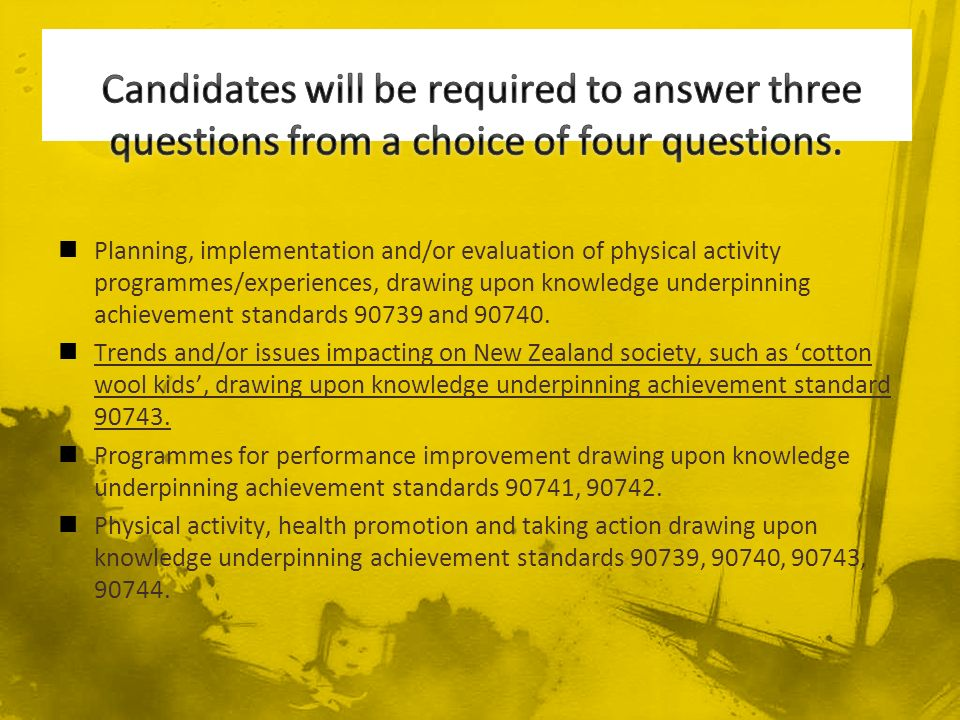 Planning, implementation and/or evaluation of physical activity programmes/experiences, drawing upon knowledge underpinning achievement standards and