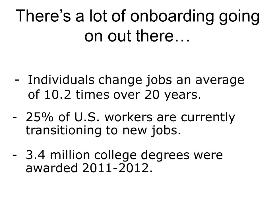 -Individuals change jobs an average of 10.2 times over 20 years.