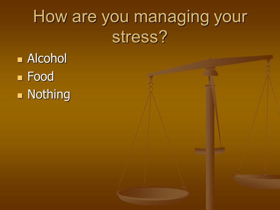 How are you managing your stress Alcohol Alcohol Food Food Nothing Nothing