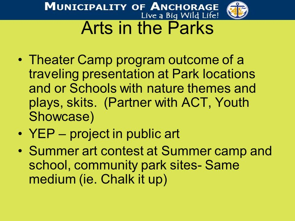 Arts in the Parks Theater Camp program outcome of a traveling presentation at Park locations and or Schools with nature themes and plays, skits.