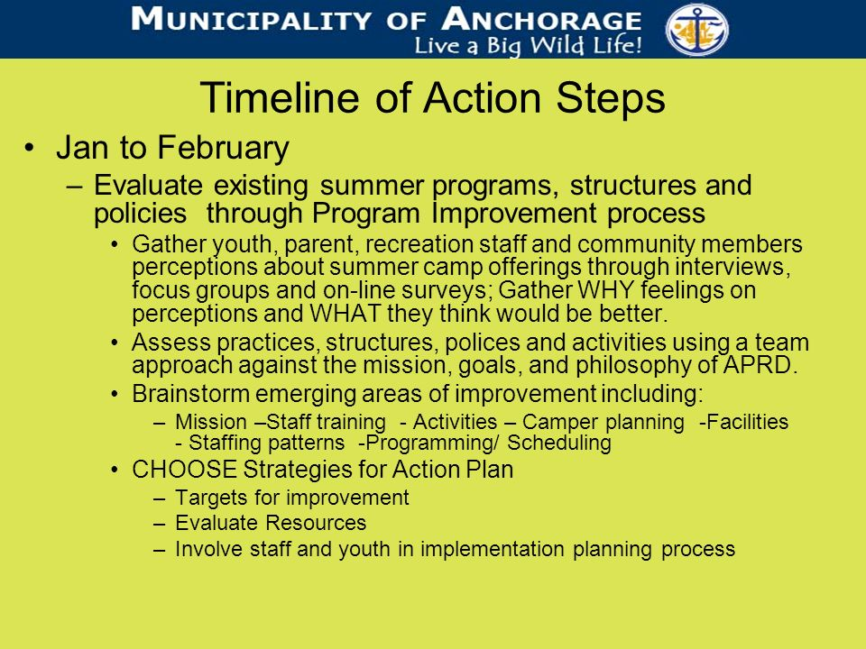 Timeline of Action Steps Jan to February –Evaluate existing summer programs, structures and policies through Program Improvement process Gather youth, parent, recreation staff and community members perceptions about summer camp offerings through interviews, focus groups and on-line surveys; Gather WHY feelings on perceptions and WHAT they think would be better.