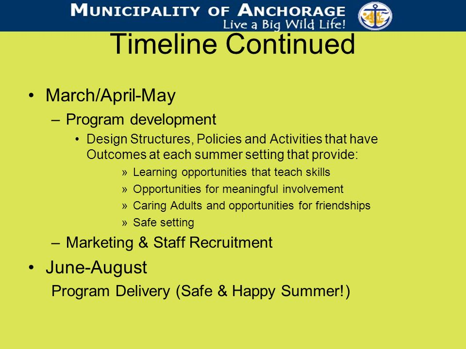 Timeline Continued March/April-May –Program development Design Structures, Policies and Activities that have Outcomes at each summer setting that provide: »Learning opportunities that teach skills »Opportunities for meaningful involvement »Caring Adults and opportunities for friendships »Safe setting –Marketing & Staff Recruitment June-August Program Delivery (Safe & Happy Summer!)