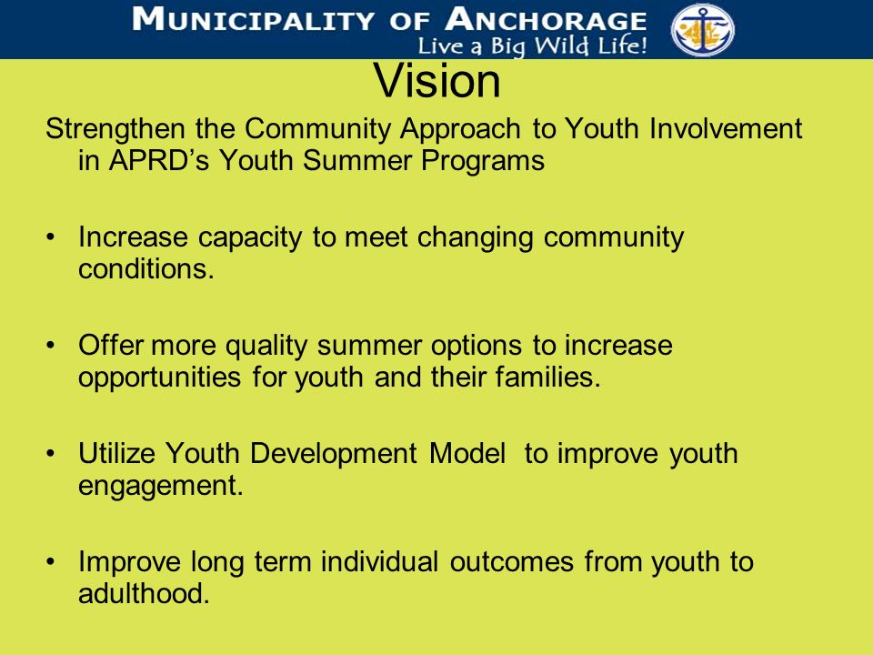 Vision Strengthen the Community Approach to Youth Involvement in APRDs Youth Summer Programs Increase capacity to meet changing community conditions.