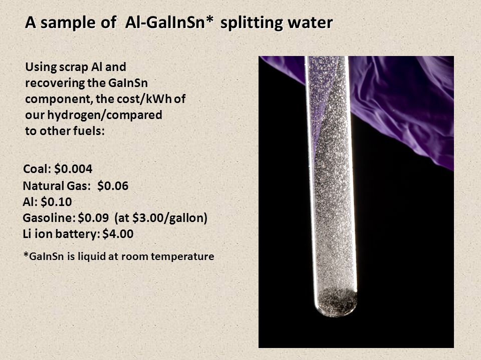 A sample of Al-GalInSn* splitting water Using scrap Al and recovering the GaInSn component, the cost/kWh of our hydrogen/compared to other fuels: Coal: $0.004 Natural Gas: $0.06 Al: $0.10 Gasoline: $0.09 (at $3.00/gallon) Li ion battery: $4.00 *GaInSn is liquid at room temperature