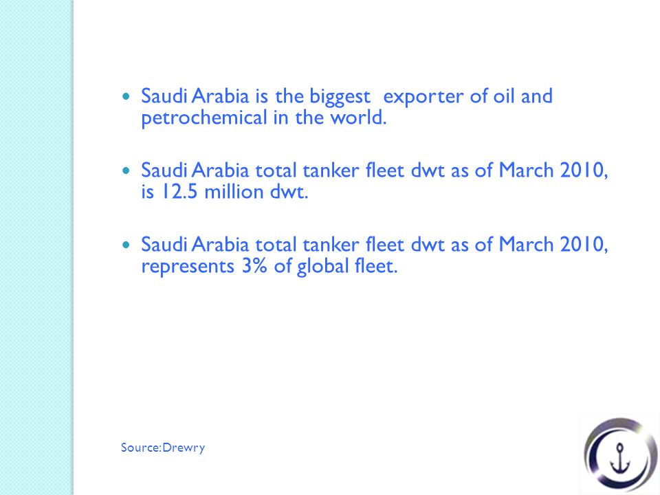Saudi Arabia is the biggest exporter of oil and petrochemical in the world.
