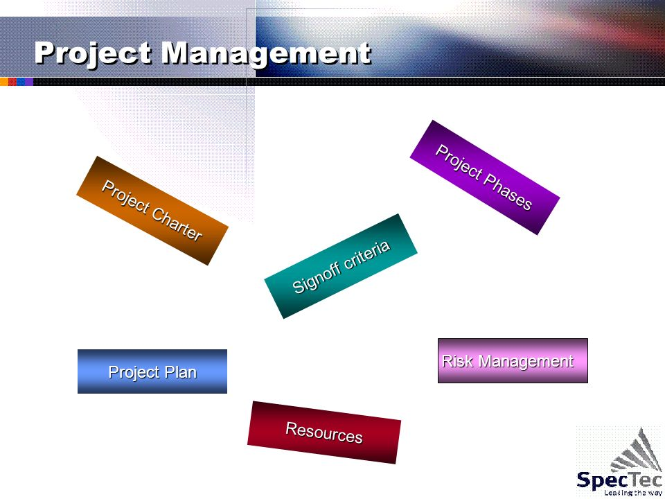 Project Management Project Plan Risk Management Signoff criteria Project Charter Project Phases Resources