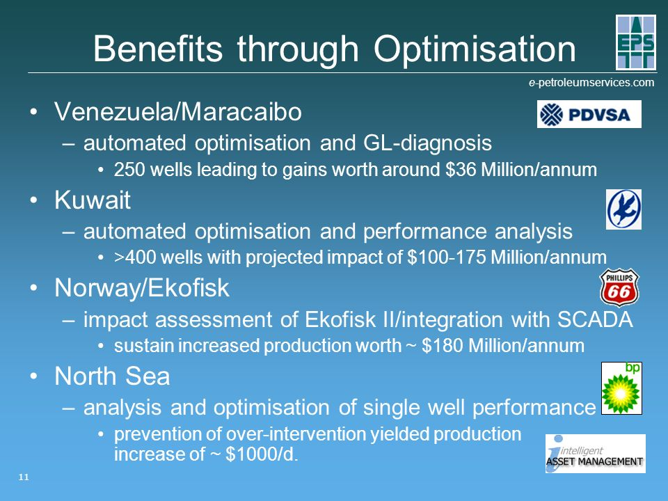 e-petroleumservices.com 11 Benefits through Optimisation Venezuela/Maracaibo –automated optimisation and GL-diagnosis 250 wells leading to gains worth around $36 Million/annum Kuwait –automated optimisation and performance analysis >400 wells with projected impact of $100-175 Million/annum Norway/Ekofisk –impact assessment of Ekofisk II/integration with SCADA sustain increased production worth ~ $180 Million/annum North Sea –analysis and optimisation of single well performance prevention of over-intervention yielded production increase of ~ $1000/d.