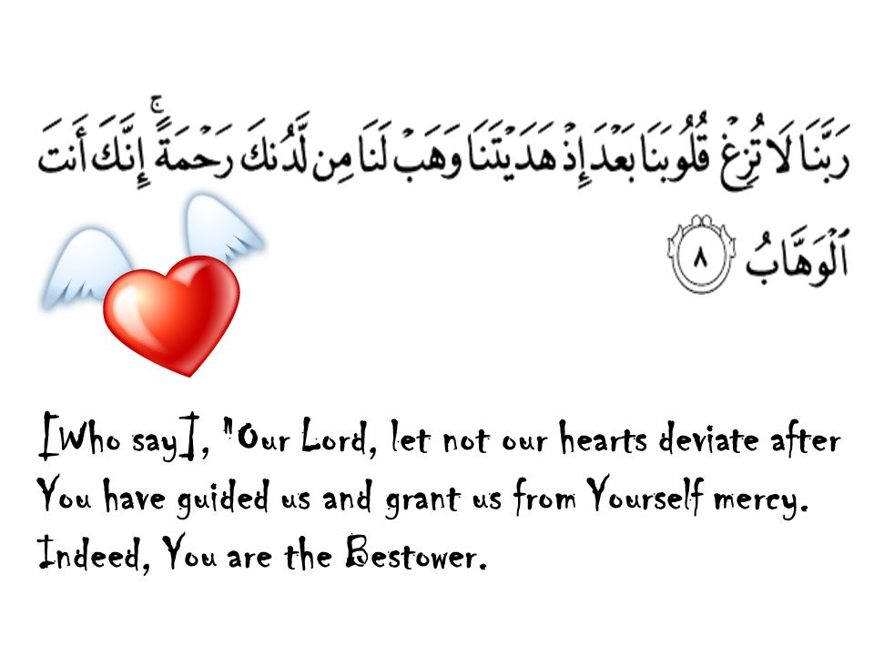 [Who say], Our Lord, let not our hearts deviate after You have guided us and grant us from Yourself mercy.