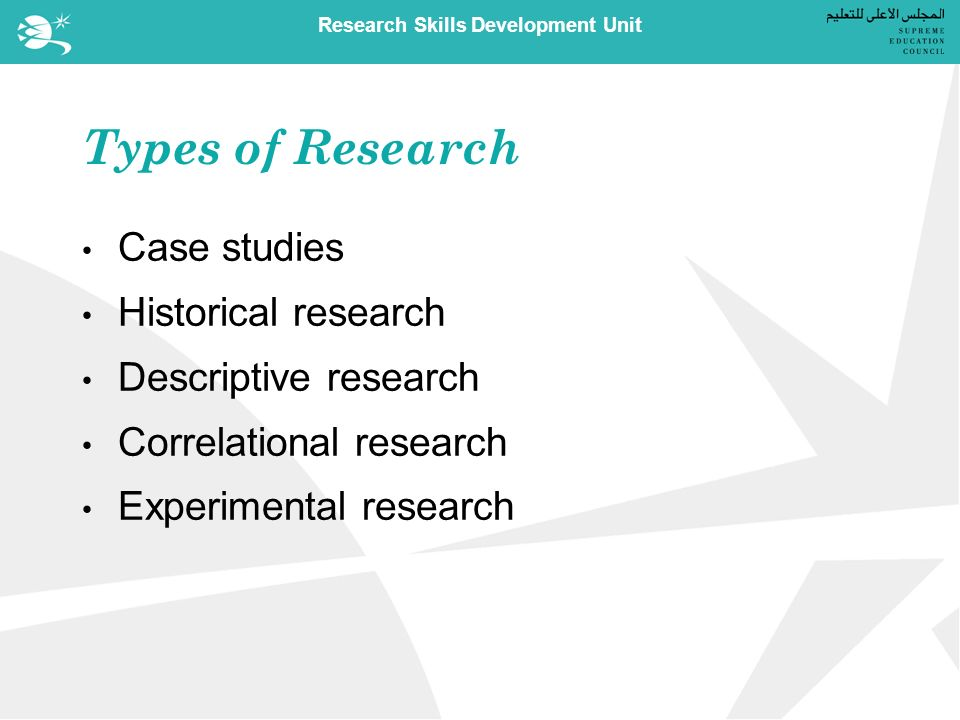 Research Skills Development Unit Types of Research Case studies Historical research Descriptive research Correlational research Experimental research