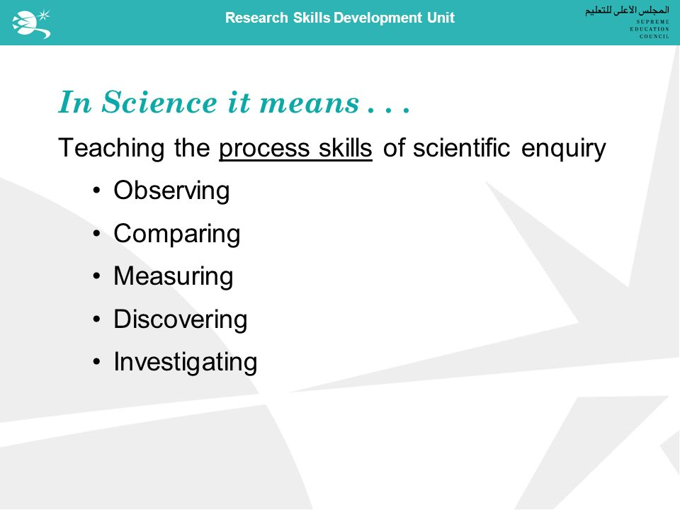 Research Skills Development Unit In Science it means...