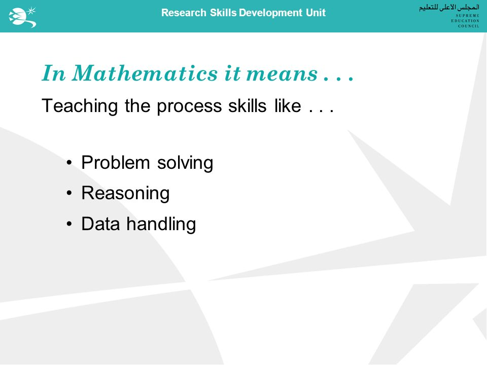 Research Skills Development Unit In Mathematics it means...