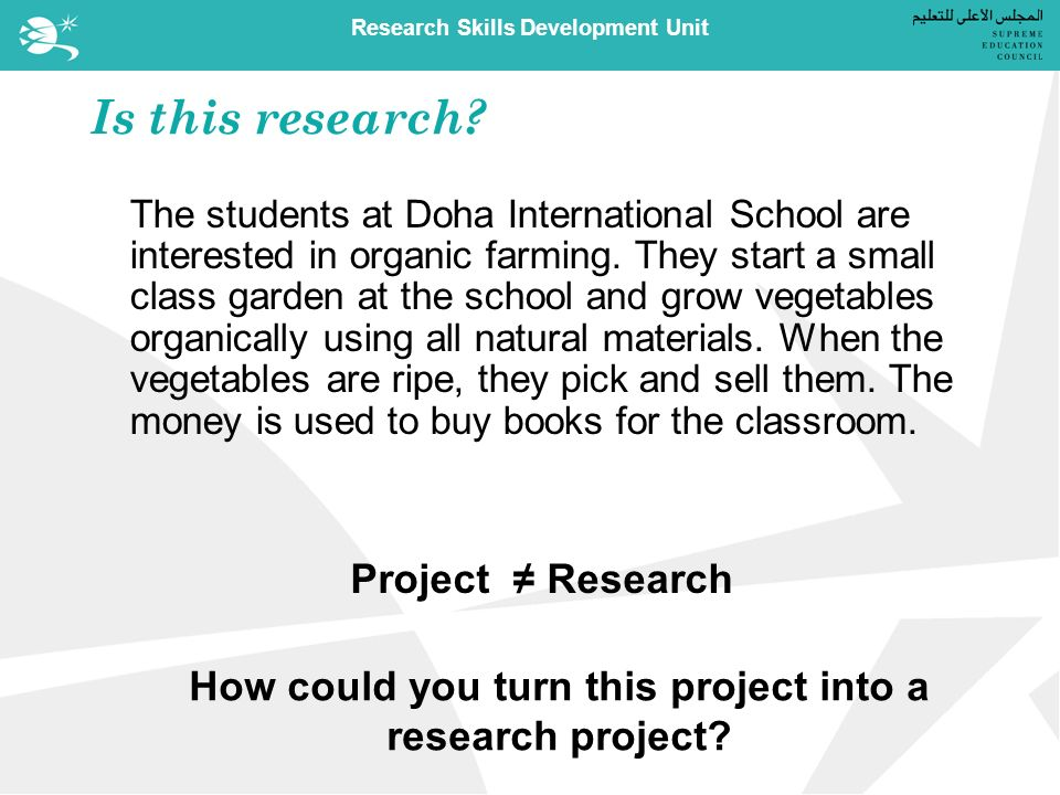 Research Skills Development Unit Is this research.