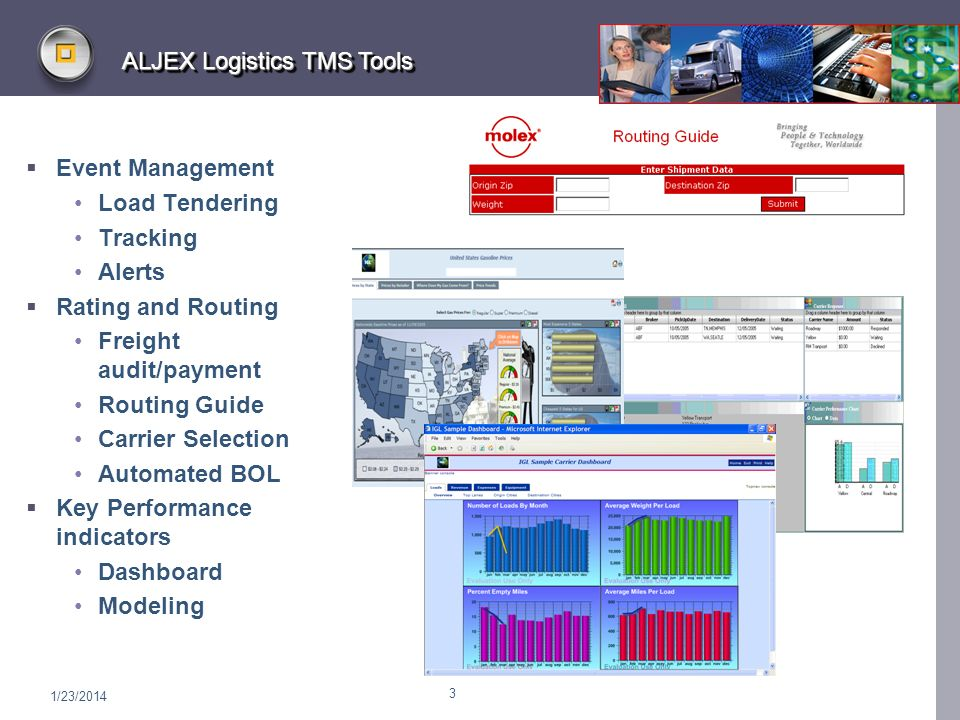 1/23/2014 3 ALJEX Logistics TMS Tools Event Management Load Tendering Tracking Alerts Rating and Routing Freight audit/payment Routing Guide Carrier Selection Automated BOL Key Performance indicators Dashboard Modeling