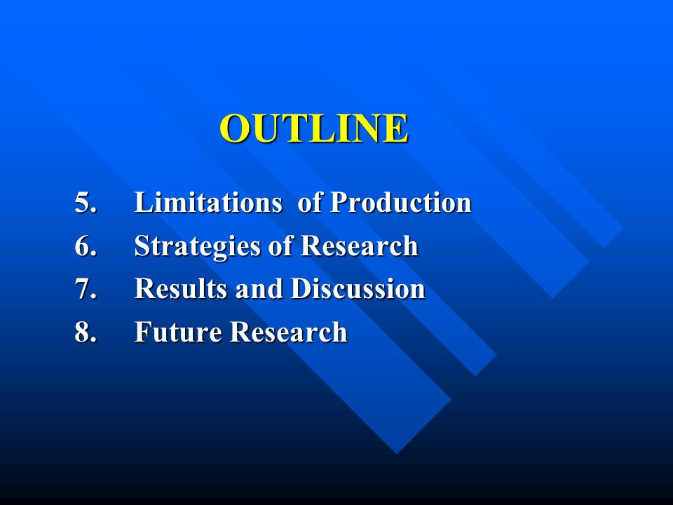 OUTLINE 5. Limitations of Production 6. Strategies of Research 7.