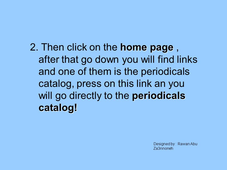 home page periodicals catalog. 2.