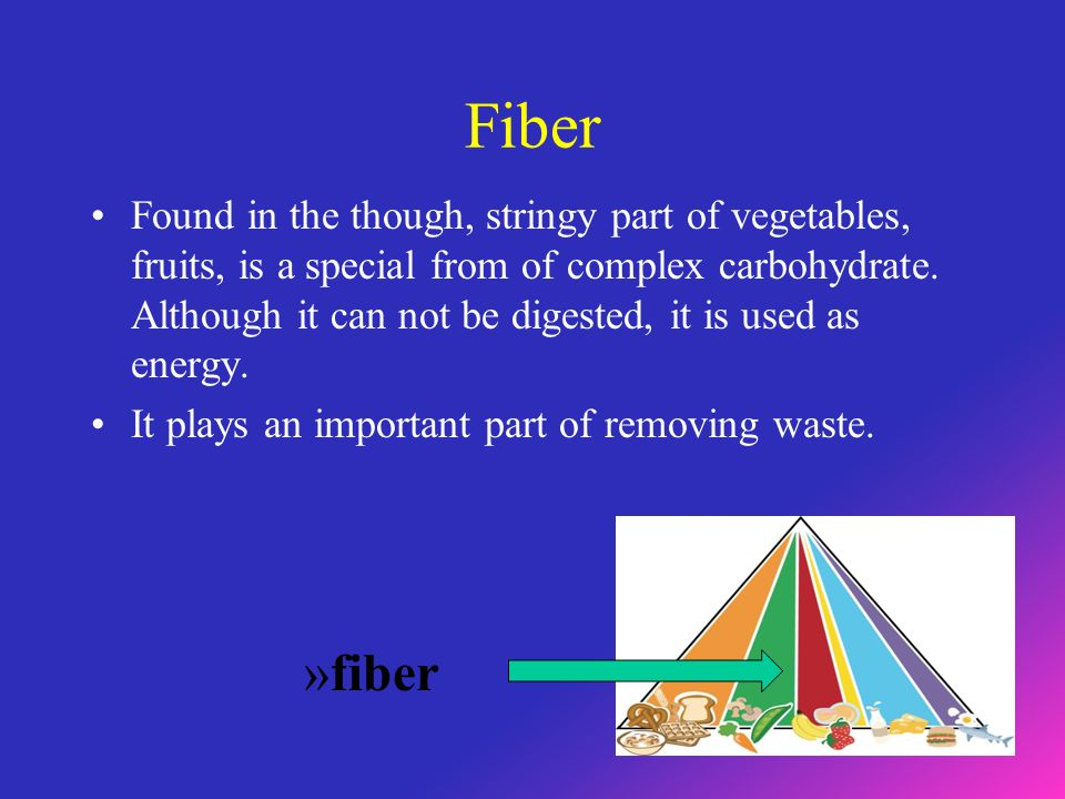 Fiber Found in the though, stringy part of vegetables, fruits, is a special from of complex carbohydrate.