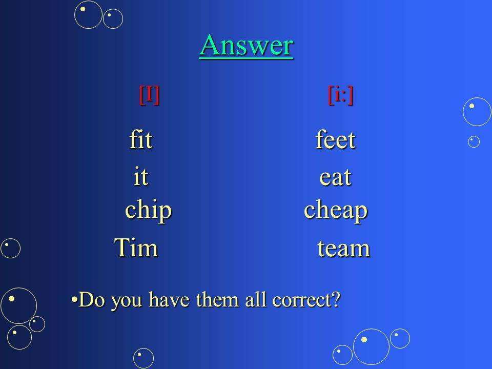 Activity 2 Look up the following words in the dictionaryLook up the following words in the dictionary it chip team eat cheap fit feet Tim Classify them into 2 groups Classify them into 2 groups
