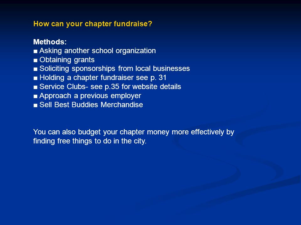 How can your chapter fundraise.