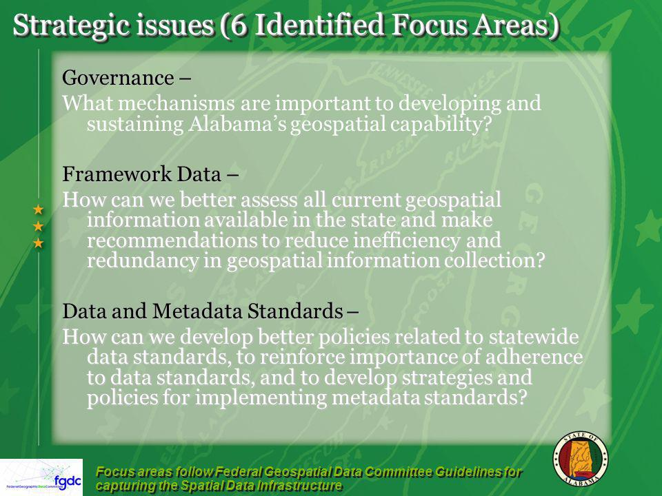 Strategic issues (6 Identified Focus Areas) Governance – What mechanisms are important to developing and sustaining Alabamas geospatial capability.