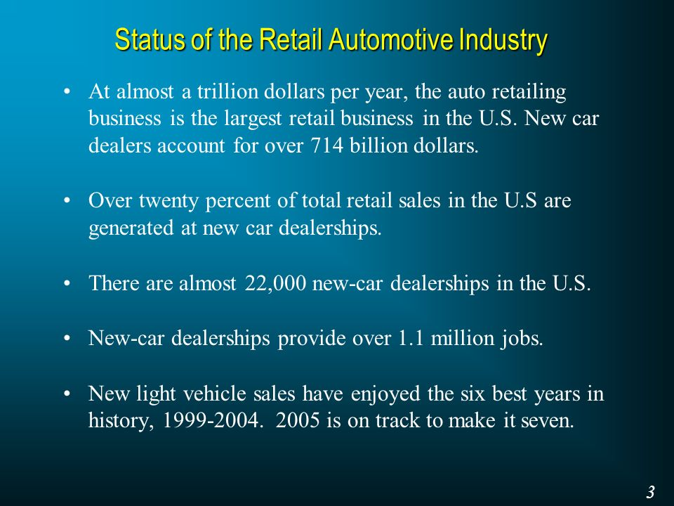 Status of the Retail Automotive Industry At almost a trillion dollars per year, the auto retailing business is the largest retail business in the U.S.