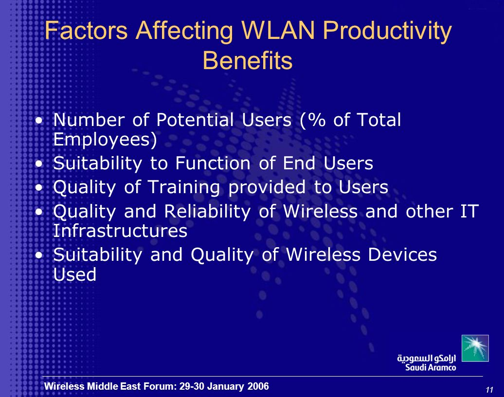 11 Wireless Middle East Forum: 29-30 January 2006 Factors Affecting WLAN Productivity Benefits Number of Potential Users (% of Total Employees) Suitability to Function of End Users Quality of Training provided to Users Quality and Reliability of Wireless and other IT Infrastructures Suitability and Quality of Wireless Devices Used