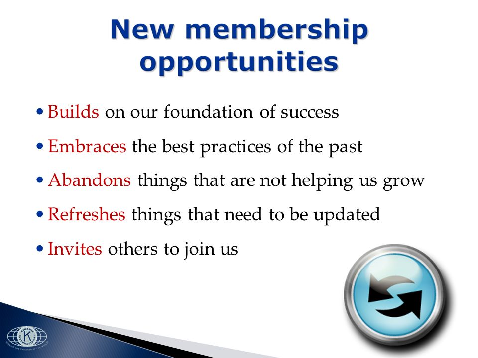 Builds on our foundation of success Embraces the best practices of the past Abandons things that are not helping us grow Refreshes things that need to be updated Invites others to join us