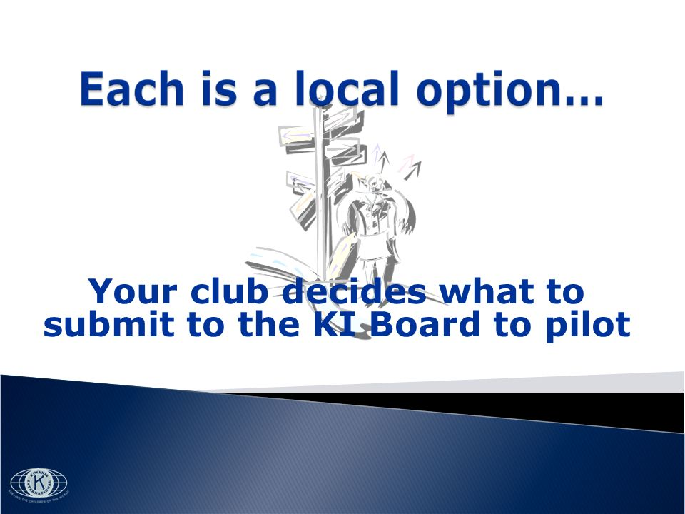 Your club decides what to submit to the KI Board to pilot