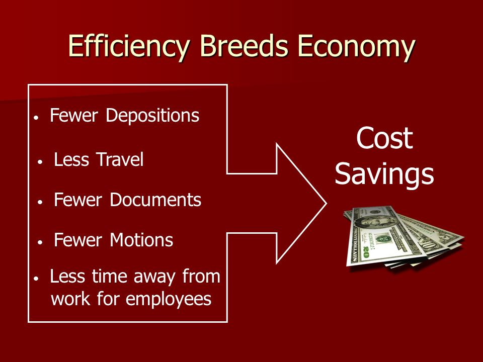 Efficiency Breeds Economy Cost Savings Fewer Depositions Less Travel Fewer Documents Fewer Motions Less time away from work for employees