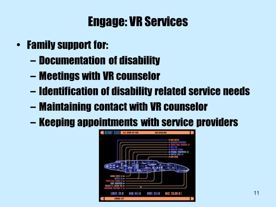 11 Engage: VR Services Family support for: –Documentation of disability –Meetings with VR counselor –Identification of disability related service needs –Maintaining contact with VR counselor –Keeping appointments with service providers