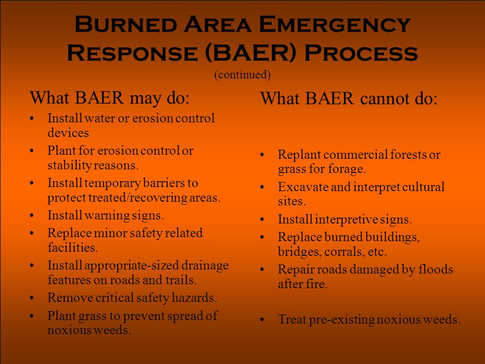 Burned Area Emergency Response (BAER) Process (continued) What BAER may do: Install water or erosion control devices Plant for erosion control or stability reasons.