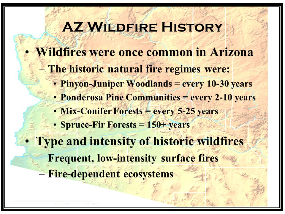 AZ Wildfire History Wildfires were once common in Arizona –The historic natural fire regimes were: Pinyon-Juniper Woodlands = every years Ponderosa Pine Communities = every 2-10 years Mix-Conifer Forests = every 5-25 years Spruce-Fir Forests = 150+ years Type and intensity of historic wildfires –Frequent, low-intensity surface fires –Fire-dependent ecosystems