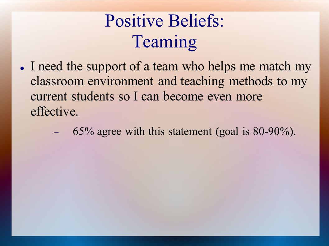 Positive Beliefs: Teaming I need the support of a team who helps me match my classroom environment and teaching methods to my current students so I can become even more effective.