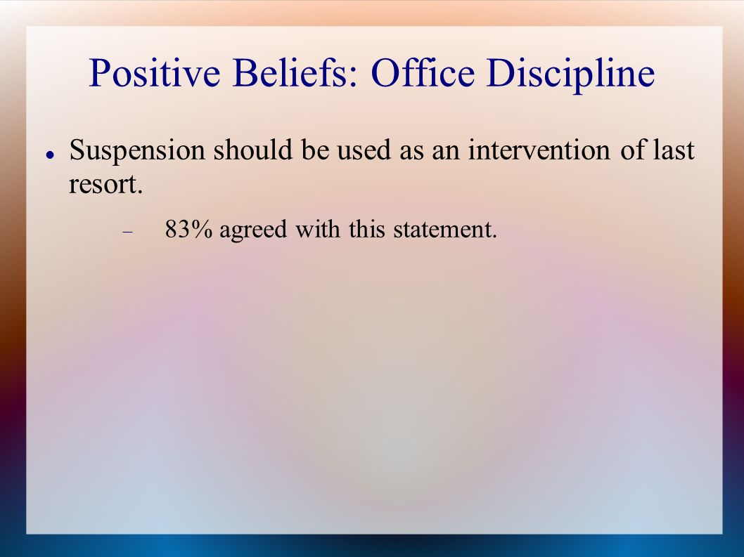 Positive Beliefs: Office Discipline Suspension should be used as an intervention of last resort.