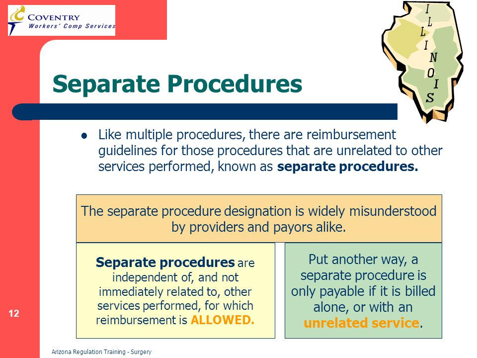 12 Arizona Regulation Training - Surgery Separate Procedures Like multiple procedures, there are reimbursement guidelines for those procedures that are unrelated to other services performed, known as separate procedures.