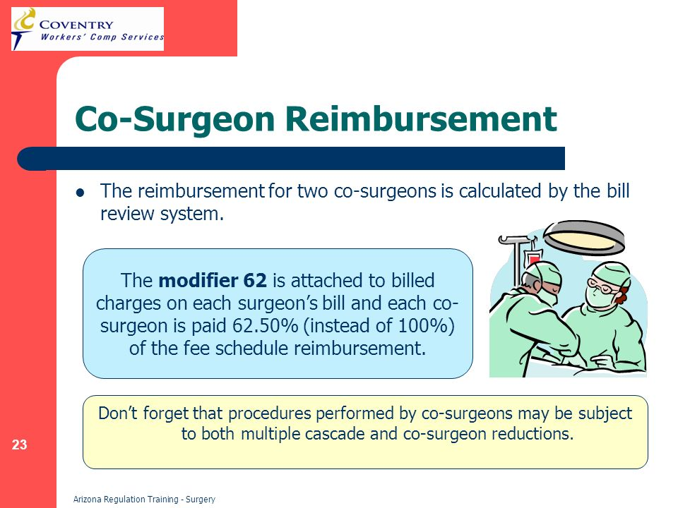 23 Arizona Regulation Training - Surgery Co-Surgeon Reimbursement The reimbursement for two co-surgeons is calculated by the bill review system.