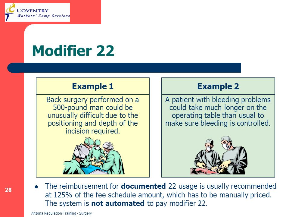 28 Arizona Regulation Training - Surgery Modifier 22 The reimbursement for documented 22 usage is usually recommended at 125% of the fee schedule amount, which has to be manually priced.