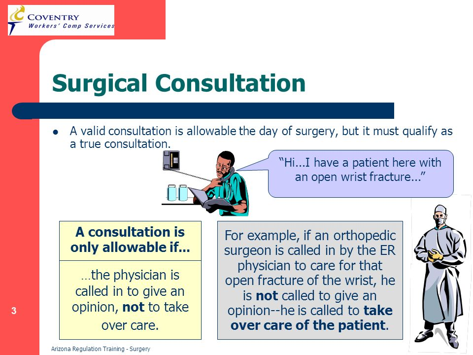 3 Arizona Regulation Training - Surgery Surgical Consultation A valid consultation is allowable the day of surgery, but it must qualify as a true consultation.