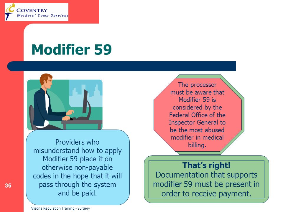 36 Arizona Regulation Training - Surgery Modifier 59 Providers who misunderstand how to apply Modifier 59 place it on otherwise non-payable codes in the hope that it will pass through the system and be paid.