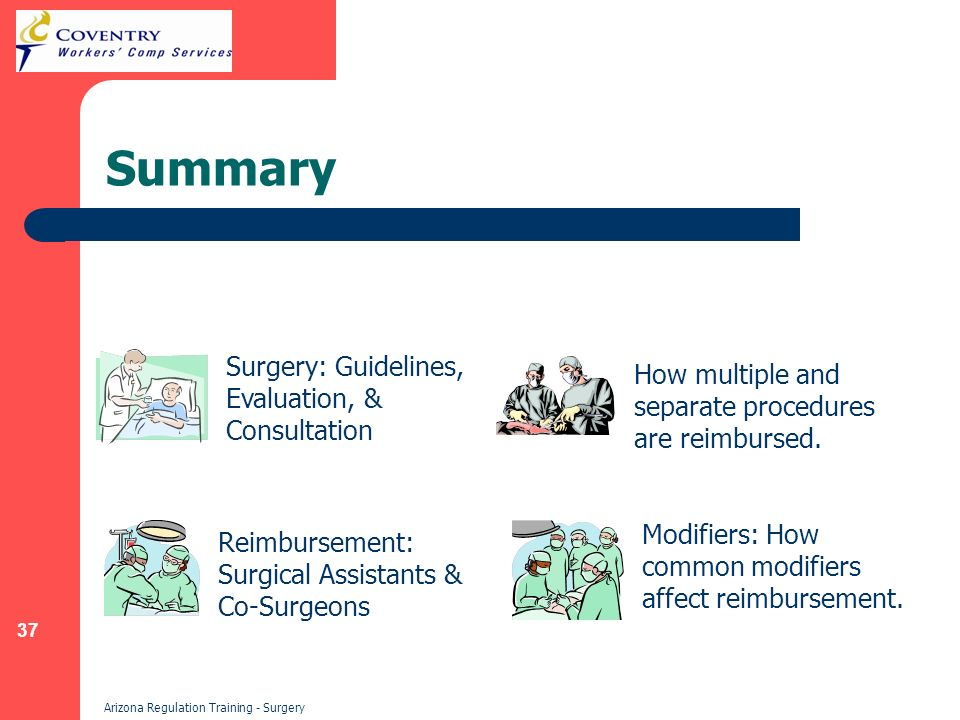 37 Arizona Regulation Training - Surgery Summary Surgery: Guidelines, Evaluation, & Consultation How multiple and separate procedures are reimbursed.