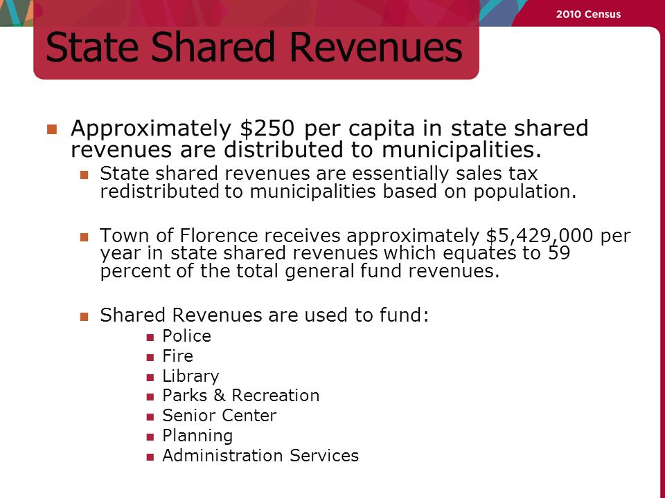State Shared Revenues Approximately $250 per capita in state shared revenues are distributed to municipalities.